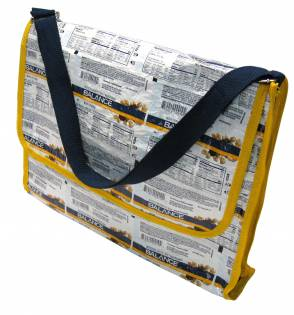 Terracycle recycled wrapper messenger bag