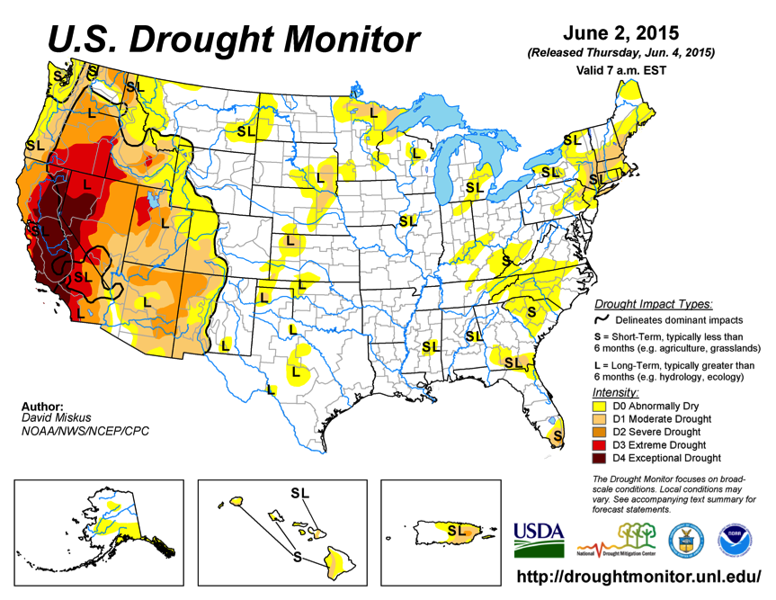 Figure 2: US drought conditions June 2015. Source: www.drought.gov/m/