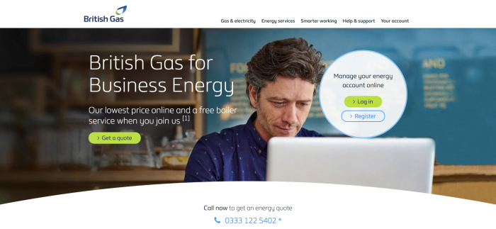 British gas business screenshot