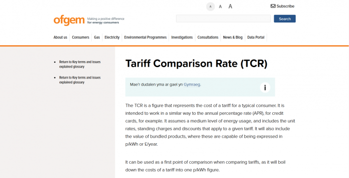 What is The Tariff Comparison Rate?