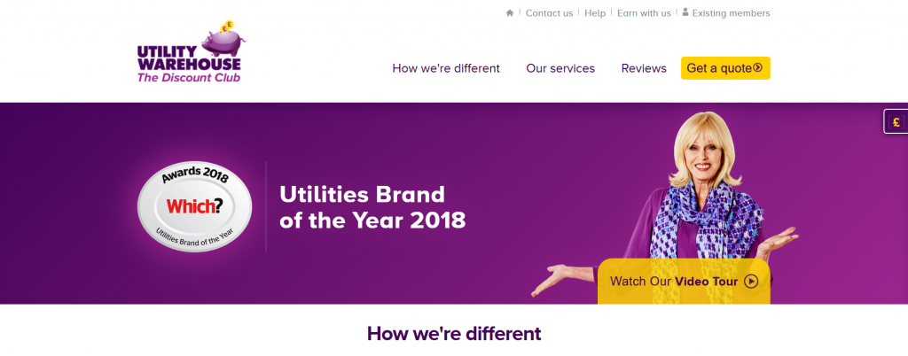 The Utility Warehouse screenshot